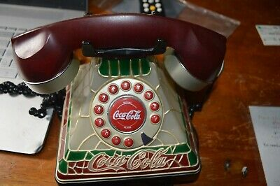 COCA-COLA Phone Stained Glass Look (plastic) TELEPHONE WORKS!