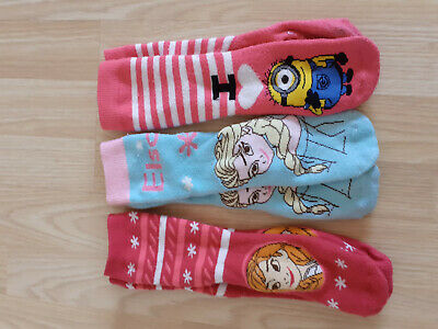 3x PAIRS OF GIRLS DISNEY FROZEN AND MINION TOTE SOCKS SHOE SIZE 12-3