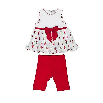 Monnalisa Monalisa Summer Outfit 2pc SetTop T-Shirt Leggins Strawberry Birthday