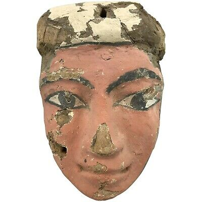 Ancient Ptolemaic Egypt Sarcophagus Polychrome Wooden Face Mask circa 330 BC