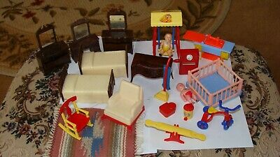 Vintage Renwal Dollhouse furniture- 50's some rare peices-baby-beds-chair-lot-