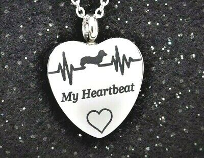 My Dachshund is my Heartbeat Cremation Necklace, Doxie Memorial Jewelry