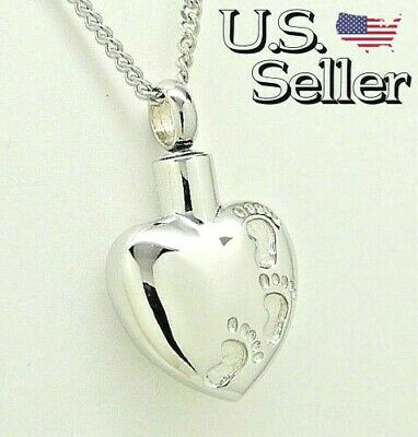 Cremation Jewelry, Heart Urn Necklace, Footprints in the Sand Memorial Keepsake