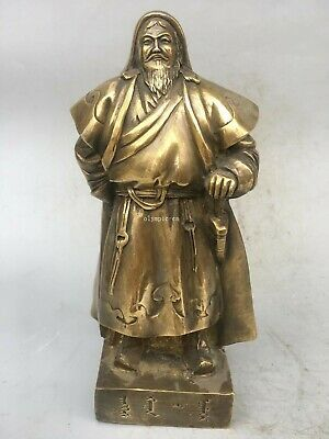 11'' copper sculpture The Mongolian conqueror Genghis Khan statue