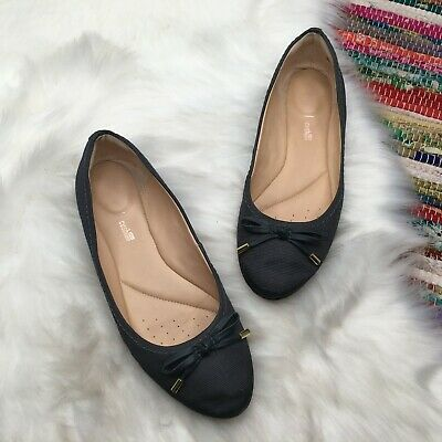 CLARKS 01650 WOMEN/'S CANDRA GLEAM BLACK LEATHER BALLET FLAT SHOES NEW IN BOX