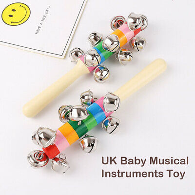 Baby Wooden Shaker Rattle Rainbow Color Hand Bell Baby Rattle Jingle Bells