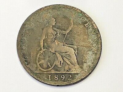 1892 One Penny Coin Queen Victoria Free UK P&P