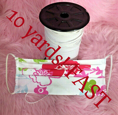 """Mask Making 1/8"""" Elastic in White 10 YARDS! Cheapest price FAST DAILY SHIP USA"""
