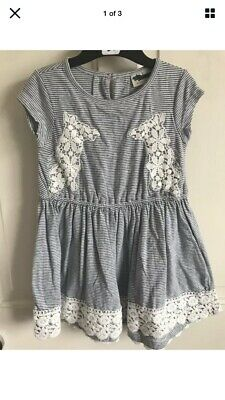 BNWOT Next Stripe Dress. Blue/White. Girls. Age 3 - 12 Years. Embroidered Detail