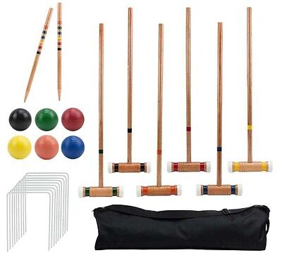 6 Player Deluxe Croquet Set Sturdy Black Carrying Bag 2 Stakes 6 Balls 9 Wickets