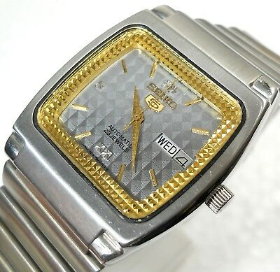 Seiko 5 Automatic Wind Day Date Designer Grey Dial Steel Mens Watch Case 33Mm
