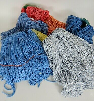 Lot of 7 Commercial Washed Mop Heads Various Sizes