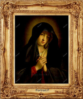 Old Master Painting Art The Madonna in Sorrow Religious Oil Unframed 24x30
