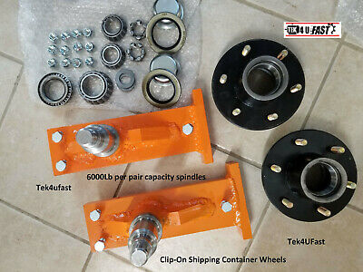 Clip-On Shipping Container Wheels, 6000# Spindle Kit (1 Set)
