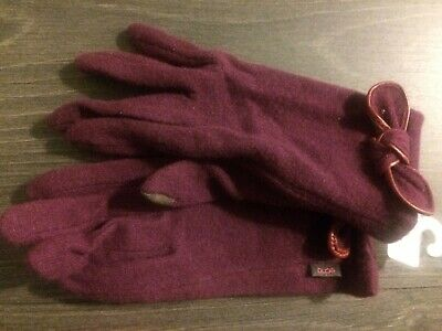 New Echo Women's Side Bow Touch Gloves purple wool winter