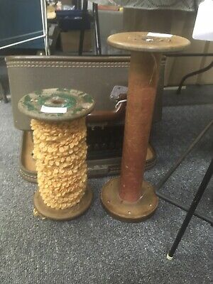 2 Large Vintage Wooden Metal Primitive Sewing Weaving Textile Thread Spools