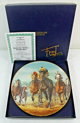 Kentucky Derby-Seattle Slew Fred Stone Collector's Plate w/ COA & Box