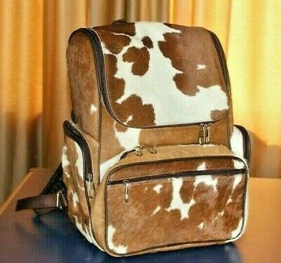 Cowhide Leather Backpack Brown Leather Purse Women Hiking Camping Backpack