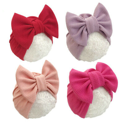 Newborn Baby Hat With Bow Infant Girls Beanie Cap Elastic Toddler Turban Hats