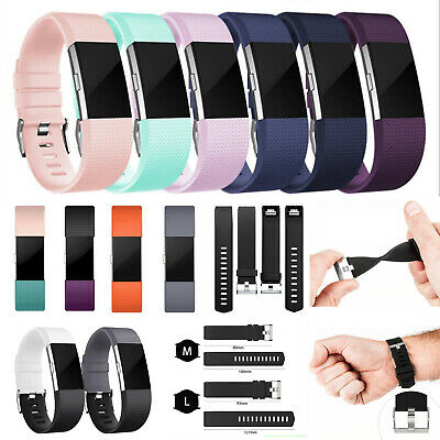 For Fitbit Charge 2 Silicone strap Replacement Wrist Band Wristband Metal Buckle