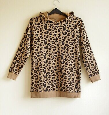 Crafted girls leopard print hoodie dress with long sleeves and hood 11/12yrs