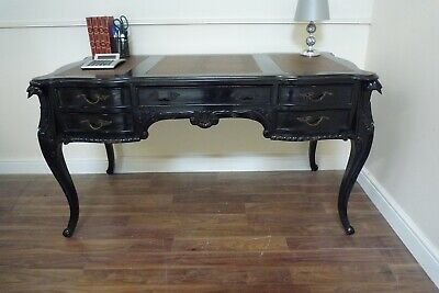 French Louis XV Antique Style Large Writing Desk In Solid Mahogany - In Black