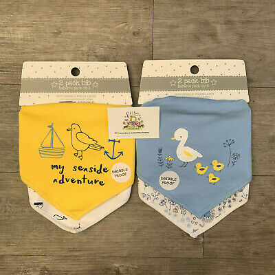 2 Pack Dunnes Baby Bandana Bibs Dribble Proof Layer Cotton Duck Spring Seaside