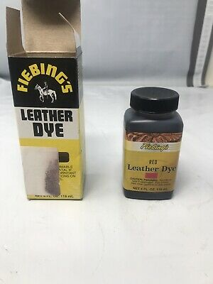 FIEBINGS Red Leather Dye 4 oz. with Applicator for Shoes Boots Bags NEW. >