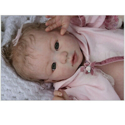 22 inch Vinyl Reborn Doll Handmade Lifelike Newborn Kit Molds Opened Eyes