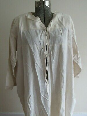 Antique Victorian Edwardian Early 1900s V Neck White Cotton Nightgown Shirt Vtg