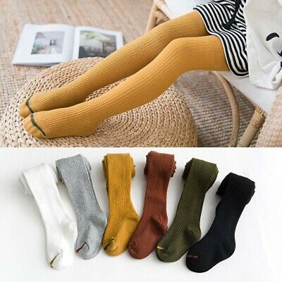 Girls Baby Cotton Long Leg Stockings Solid Knitted Ribbed Pantyhose Kids Tights,