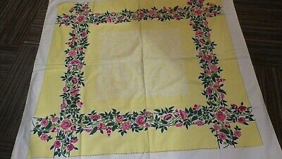 "Vintage 1950's Tablecloth Spring Colors Floral Yellow Pink Green Vines 51"" x 51"""