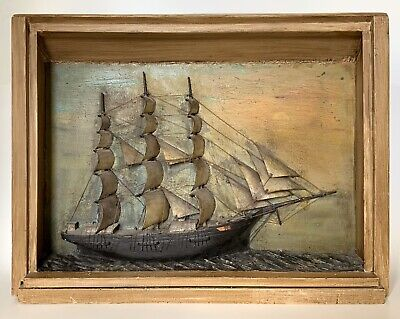 Antique Early 1800s American Carved & Painted Ship Diorama