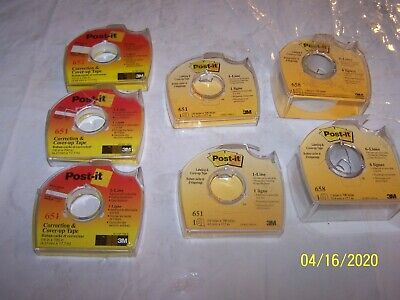 """Lot of 7 - 3M POST-IT Correction Cover-Up Tape 1"""" 6-Line White #658, & 652, 651"""