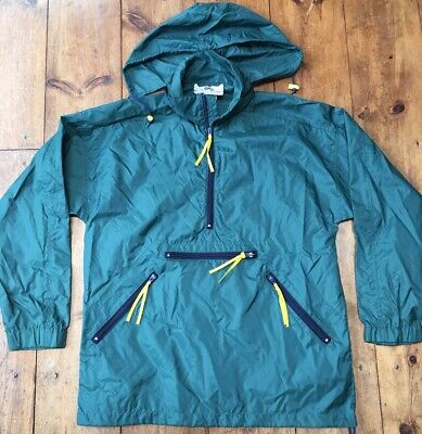 VTG EMS Eastern Mountain Sports Anorak 1/4 Zip Rain Jacket Hunter Green Medium