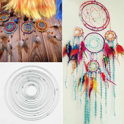 10x Metal Dream Catcher Dreamcatcher Ring Macrame Craft Hoop Pentacle Circle