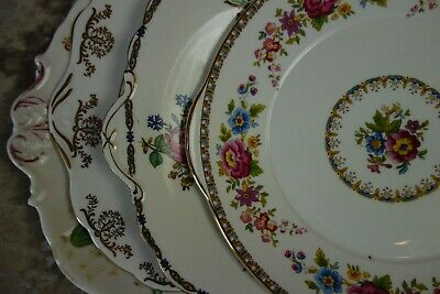 4 Vintage Mismatched china sandwich / cake plates with pink flowers