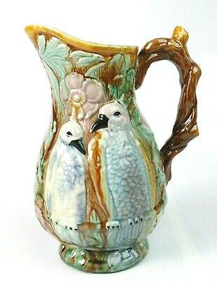 """Antique Majolica Style Birds on branch & Wood Branch Handle Pitcher 6""""W x 8.25"""""""
