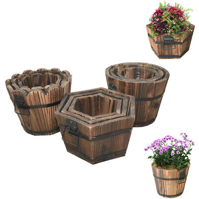 3pcs/set Barrel Planter Pots Wooden Flower Pot Outdoor Patio Garden Decoration