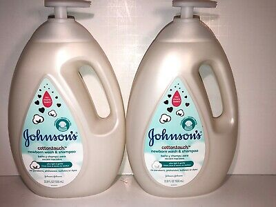 2 Johnson's 33.8 Oz No More Tears Cottontouch Newborn Wash & Shampoo With Pump