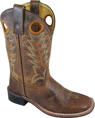 Smoky Mountain Boys Jesse Bison Leather Print Boot Square Toe 3749C