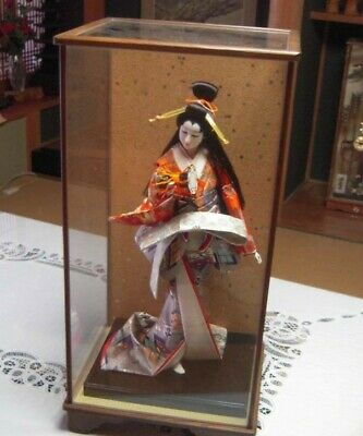 "Japanese Geisha doll in Kimono 23"" on wooden base Antiques 30-40years Vintage"
