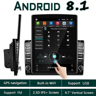 Android 8.1 2 Din 9.7'' Vertical Car Stereo Radio GPS Navi Bluetooth USB Player