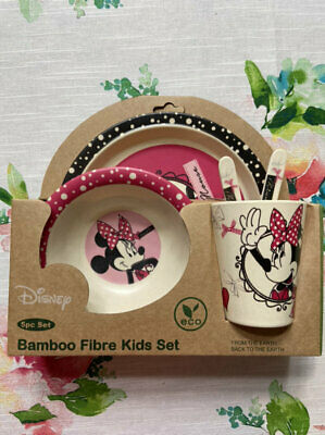 New 5pc Disney Minnie Mouse Bamboo Fibre Meal Set Free Ship
