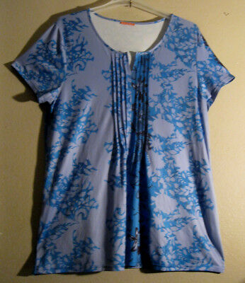 Simply Vera L Night Gown Blue Black     PRETTY PIN TUCK ACCENTS!   [61]