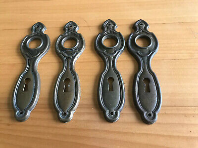 2 Pair Matching, Vintage Pressed Brass Door Knob Back Plates Key Escutcheon's