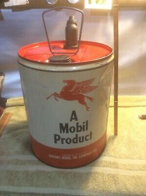 Vintage Socony Mobil oil 5 gallon Pegasus Can red top spout complete