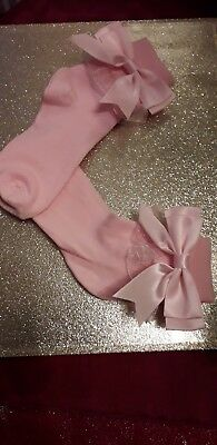 ROMANY GIRL SCHOOL LACY PINK ANKLE Spanish  style SOCKS  SATIN BOWS SHOE 9 - 12