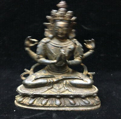An Estate Old Chinese Ming Dynasty Copper Bronze Buddha Statue
