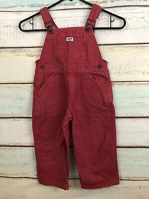 "Vintage Guess 80""s Red Suspender Overall Pants Size 3 Years"